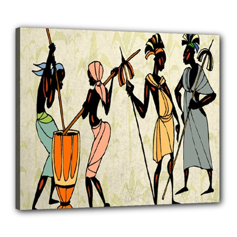 Man Ethic African People Collage Canvas 24  X 20