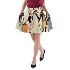 Man Ethic African People Collage A Line Pocket Skirt