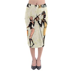Man Ethic African People Collage Midi Pencil Skirt
