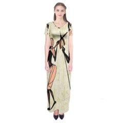 Man Ethic African People Collage Short Sleeve Maxi Dress