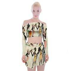Man Ethic African People Collage Off Shoulder Top With Mini Skirt Set