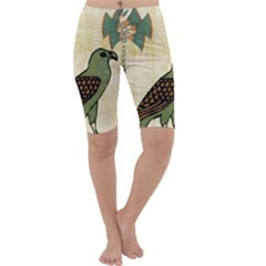 Egyptian Paper Papyrus Bird Cropped Leggings