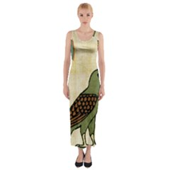 Egyptian Paper Papyrus Bird Fitted Maxi Dress