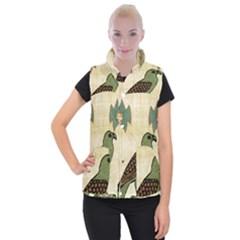Egyptian Paper Papyrus Bird Women s Button Up Puffer Vest