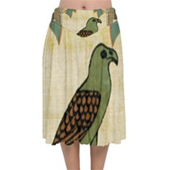 Egyptian Paper Papyrus Bird Velvet Flared Midi Skirt