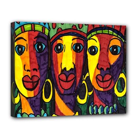 Ethnic Bold Bright Artistic Paper Canvas 14  X 11