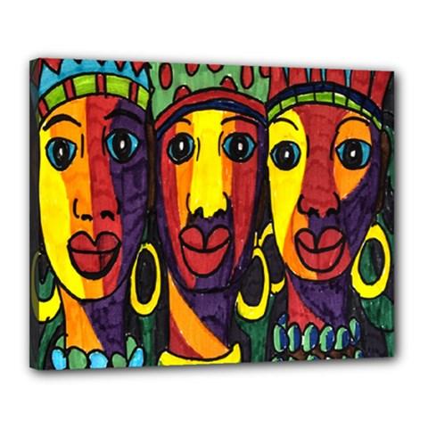 Ethnic Bold Bright Artistic Paper Canvas 20  X 16