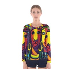 Ethnic Bold Bright Artistic Paper Women s Long Sleeve Tee