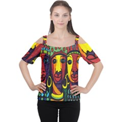 Ethnic Bold Bright Artistic Paper Cutout Shoulder Tee