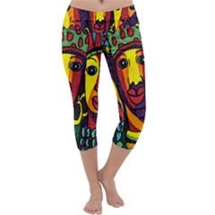 Ethnic Bold Bright Artistic Paper Capri Yoga Leggings