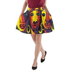 Ethnic Bold Bright Artistic Paper A Line Pocket Skirt