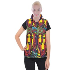Ethnic Bold Bright Artistic Paper Women s Button Up Puffer Vest