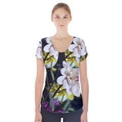 Dahlias Dahlia Dahlia Garden Short Sleeve Front Detail Top