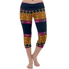 Pattern Ornaments Africa Safari Capri Yoga Leggings