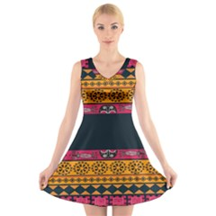 Pattern Ornaments Africa Safari V Neck Sleeveless Skater Dress