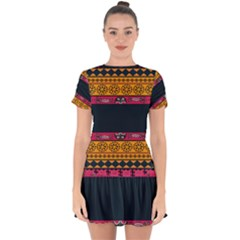 Pattern Ornaments Africa Safari Drop Hem Mini Chiffon Dress