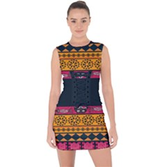 Pattern Ornaments Africa Safari Lace Up Front Bodycon Dress