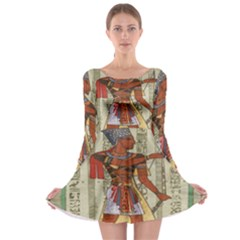 Egyptian Design Man Royal Long Sleeve Skater Dress
