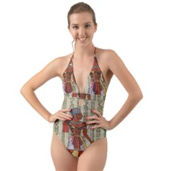 Egyptian Design Man Royal Halter Cut Out One Piece Swimsuit