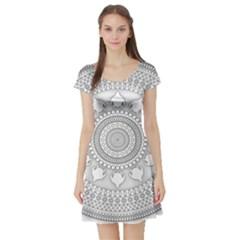 Mandala Ethnic Pattern Short Sleeve Skater Dress