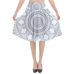 Mandala Ethnic Pattern Flared Midi Skirt