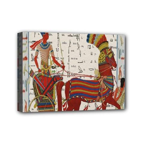 Egyptian Tutunkhamun Pharaoh Design Mini Canvas 7  X 5