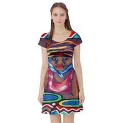 Ethnic Africa Art Work Drawing Short Sleeve Skater Dress