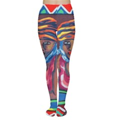Ethnic Africa Art Work Drawing Women s Tights