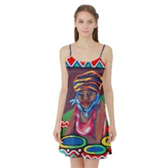 Ethnic Africa Art Work Drawing Satin Night Slip