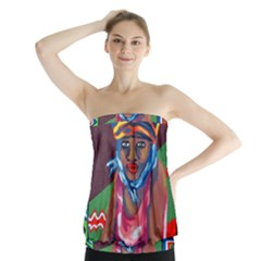 Ethnic Africa Art Work Drawing Strapless Top