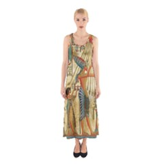 Egyptian Man Sun God Ra Amun Sleeveless Maxi Dress