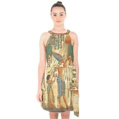 Egyptian Man Sun God Ra Amun Halter Collar Waist Tie Chiffon Dress