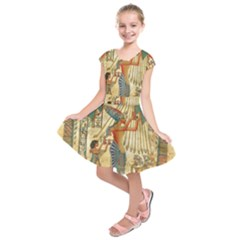 Egyptian Man Sun God Ra Amun Kids  Short Sleeve Dress