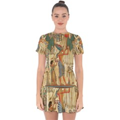 Egyptian Man Sun God Ra Amun Drop Hem Mini Chiffon Dress