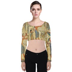 Egyptian Man Sun God Ra Amun Velvet Long Sleeve Crop Top