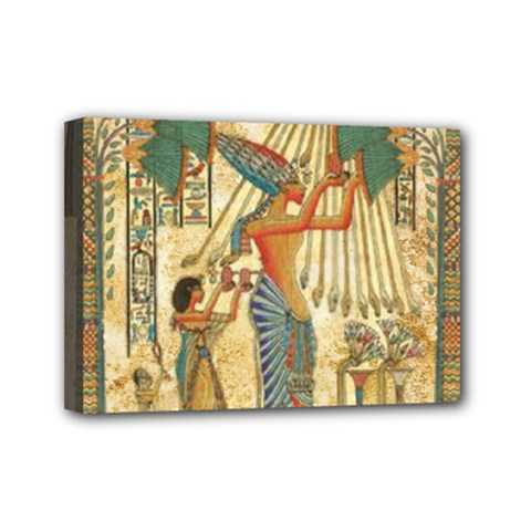 Egyptian Man Sun God Ra Amun Mini Canvas 7  X 5