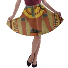 Egyptian Tutunkhamun Pharaoh Design A Line Skater Skirt