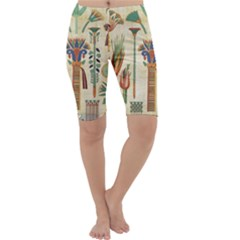 Egyptian Paper Papyrus Hieroglyphs Cropped Leggings