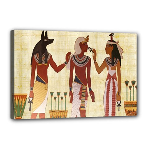 Egyptian Design Man Woman Priest Canvas 18  X 12