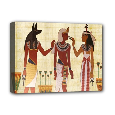 Egyptian Design Man Woman Priest Deluxe Canvas 16  X 12