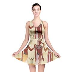 Egyptian Design Man Woman Priest Reversible Skater Dress