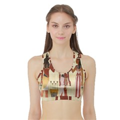 Egyptian Design Man Woman Priest Sports Bra With Border