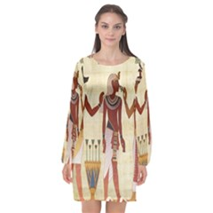 Egyptian Design Man Woman Priest Long Sleeve Chiffon Shift Dress