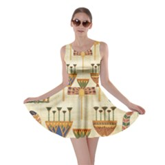 Egyptian Paper Papyrus Hieroglyphs Skater Dress