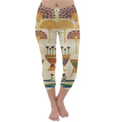 Egyptian Paper Papyrus Hieroglyphs Capri Winter Leggings