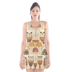 Egyptian Paper Papyrus Hieroglyphs Scoop Neck Skater Dress