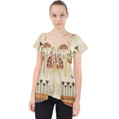 Egyptian Paper Papyrus Hieroglyphs Lace Front Dolly Top