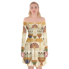 Egyptian Paper Papyrus Hieroglyphs Off Shoulder Skater Dress