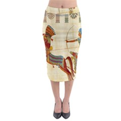 Egyptian Tutunkhamun Pharaoh Design Midi Pencil Skirt