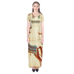 Egyptian Tutunkhamun Pharaoh Design Short Sleeve Maxi Dress
